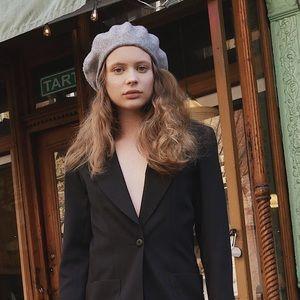Wool gray beret hat